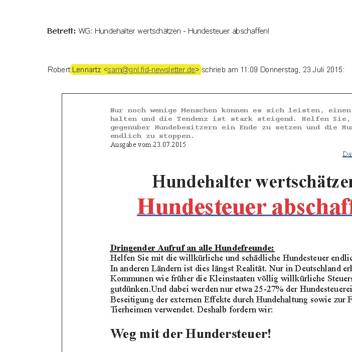 eMail Hundesteuer
